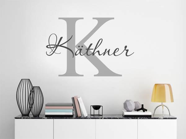 wandtattoo k thner nachname als monogramm t rschild. Black Bedroom Furniture Sets. Home Design Ideas