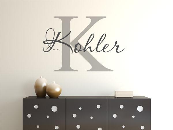 wandtattoo kohler nachname als monogramm t rschild oder. Black Bedroom Furniture Sets. Home Design Ideas