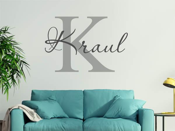 wandtattoo kraul als monogramm t rschild oder familienwappen. Black Bedroom Furniture Sets. Home Design Ideas
