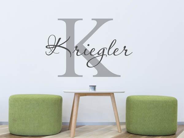 wandtattoo kriegler als monogramm t rschild oder. Black Bedroom Furniture Sets. Home Design Ideas