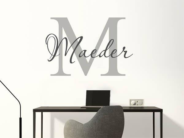 wandtattoo maeder als monogramm t rschild oder familienwappen. Black Bedroom Furniture Sets. Home Design Ideas