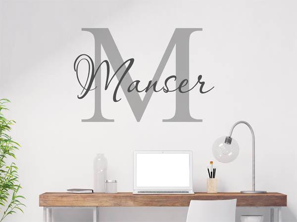 wandtattoo manser als monogramm t rschild oder familienwappen. Black Bedroom Furniture Sets. Home Design Ideas