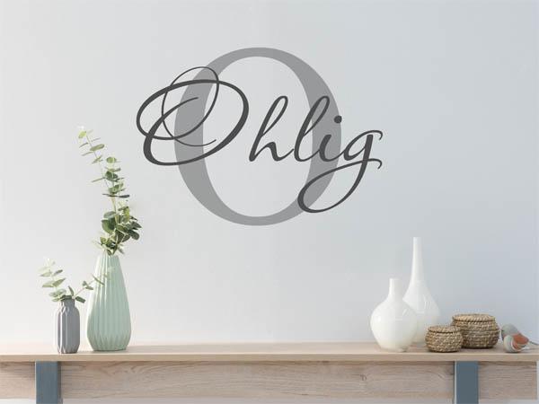 wandtattoo ohlig als monogramm t rschild oder familienwappen. Black Bedroom Furniture Sets. Home Design Ideas