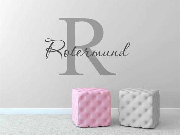 wandtattoo rotermund als monogramm t rschild oder. Black Bedroom Furniture Sets. Home Design Ideas