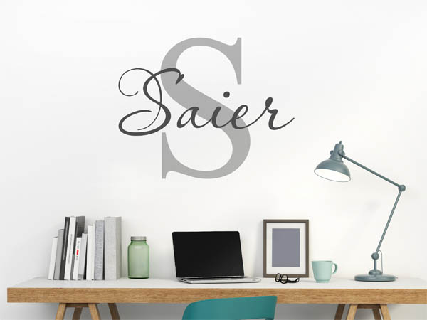 wandtattoo saier als monogramm t rschild oder familienwappen. Black Bedroom Furniture Sets. Home Design Ideas