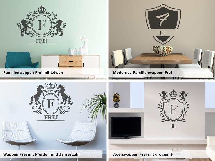 wandtattoo frei als monogramm t rschild oder familienwappen. Black Bedroom Furniture Sets. Home Design Ideas