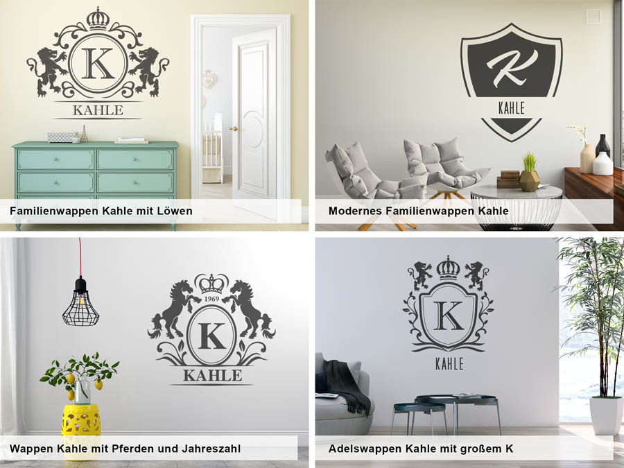 wandtattoo kahle als monogramm t rschild oder familienwappen. Black Bedroom Furniture Sets. Home Design Ideas