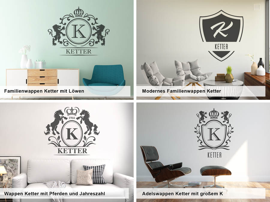 wandtattoo ketter als monogramm t rschild oder familienwappen. Black Bedroom Furniture Sets. Home Design Ideas