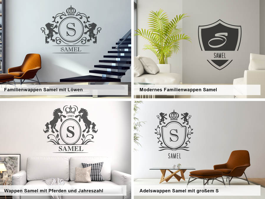 wandtattoo samel nachname als monogramm t rschild oder. Black Bedroom Furniture Sets. Home Design Ideas