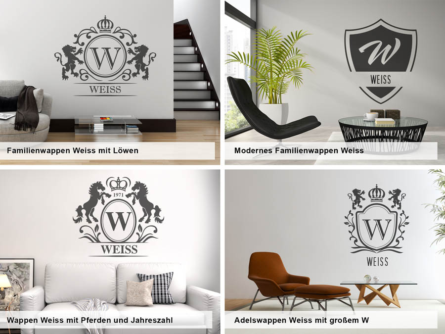 wandtattoo weiss nachname als monogramm t rschild oder. Black Bedroom Furniture Sets. Home Design Ideas