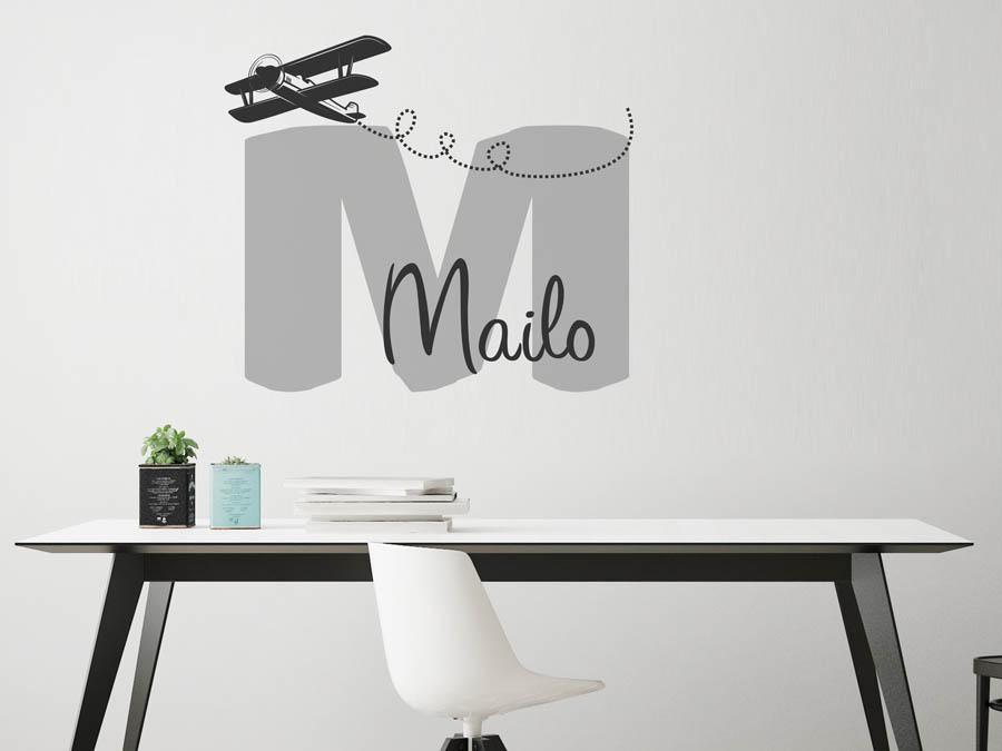 Wandtattoo mailo als namensschild monogramm oder for Boden mit schrift