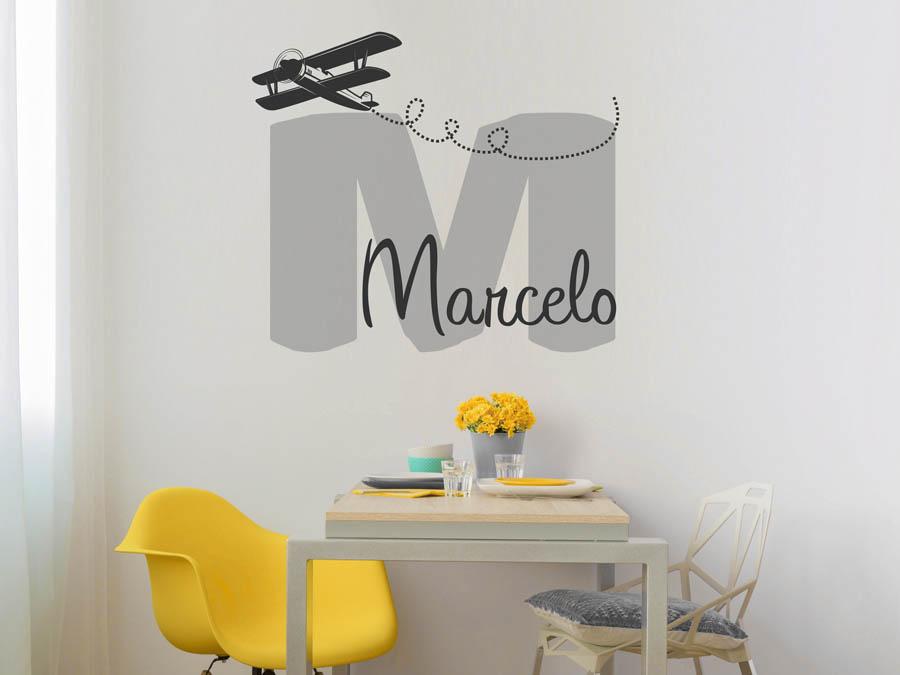 Wandtattoo marcelo als namensschild monogramm oder for Boden mit schrift