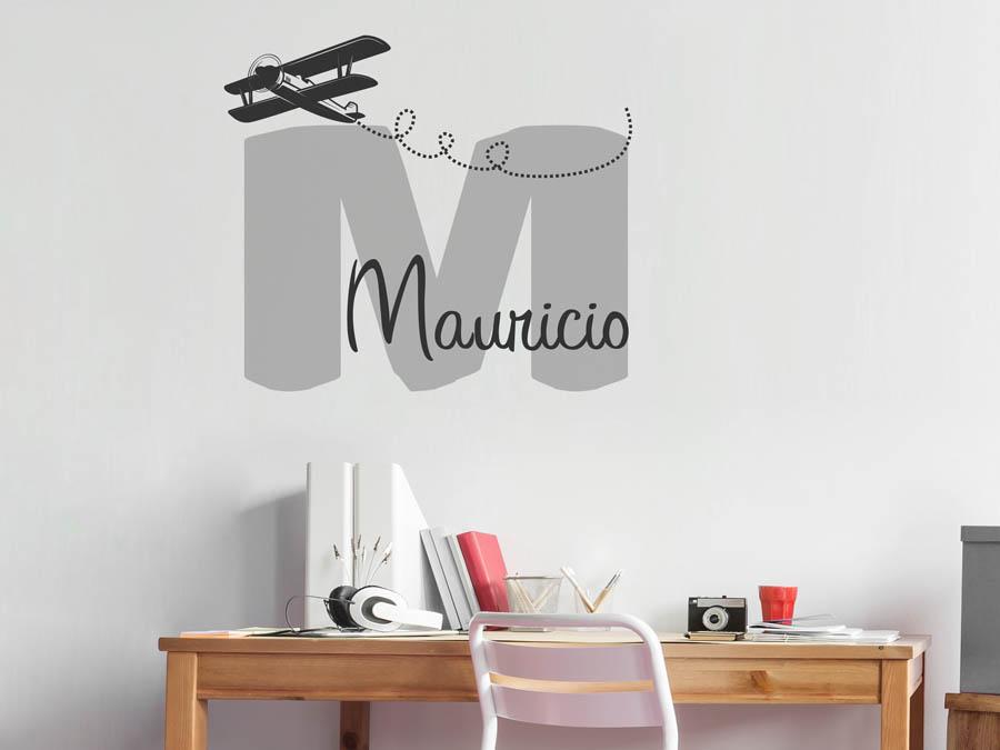 Wandtattoo mauricio als namensschild monogramm oder for Boden mit schrift