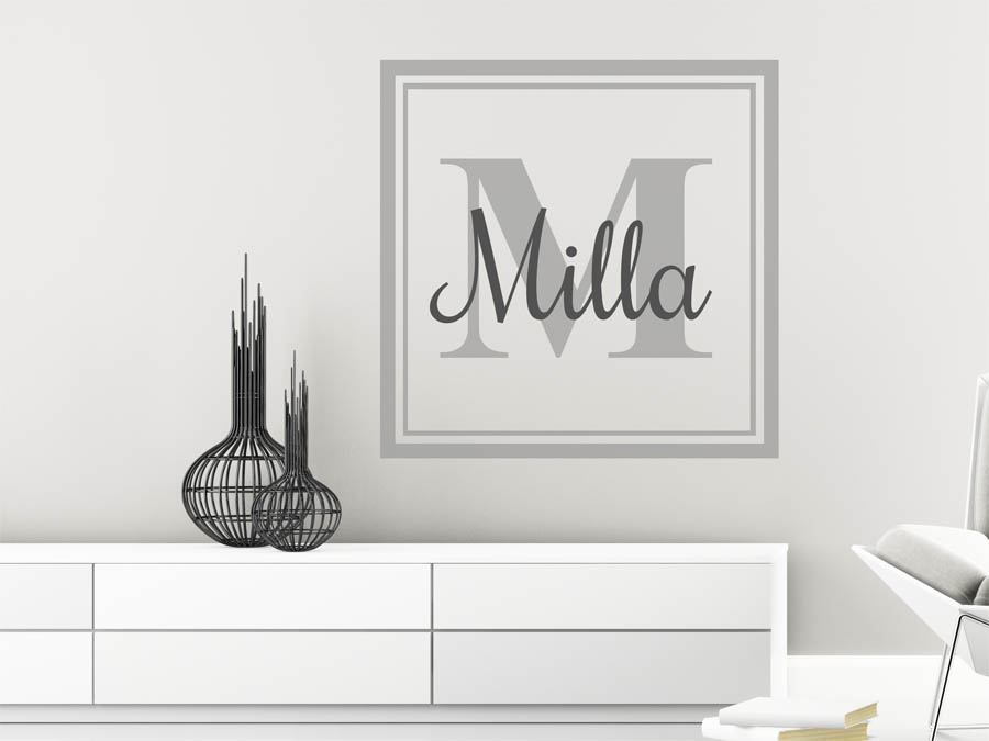 wandtattoo milla als namensschild monogramm oder. Black Bedroom Furniture Sets. Home Design Ideas