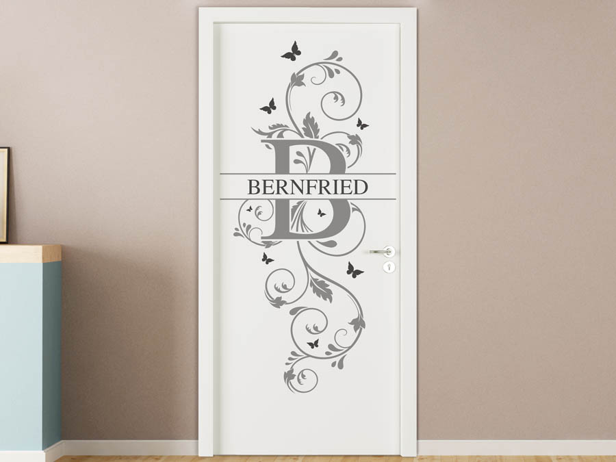 wandtattoo bernfried vorname als namensschild monogramm. Black Bedroom Furniture Sets. Home Design Ideas