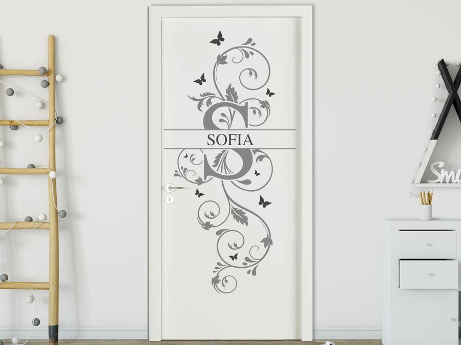 Wandtattoo Sofia als Namensschild, Monogramm oder verschnörkelte Schrift