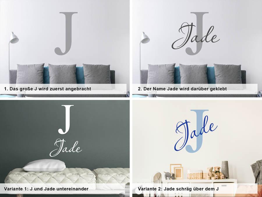 Verschiedene Anordnungen Des Wandtattoos Jade