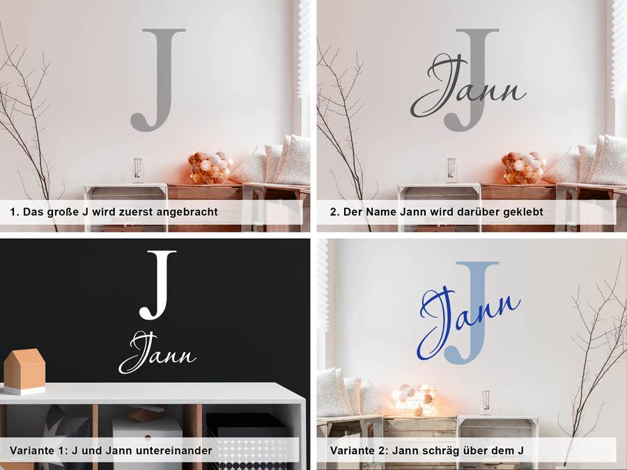 Wandtattoo Jann als Namensschild, Monogramm oder verschnörkelte Schrift