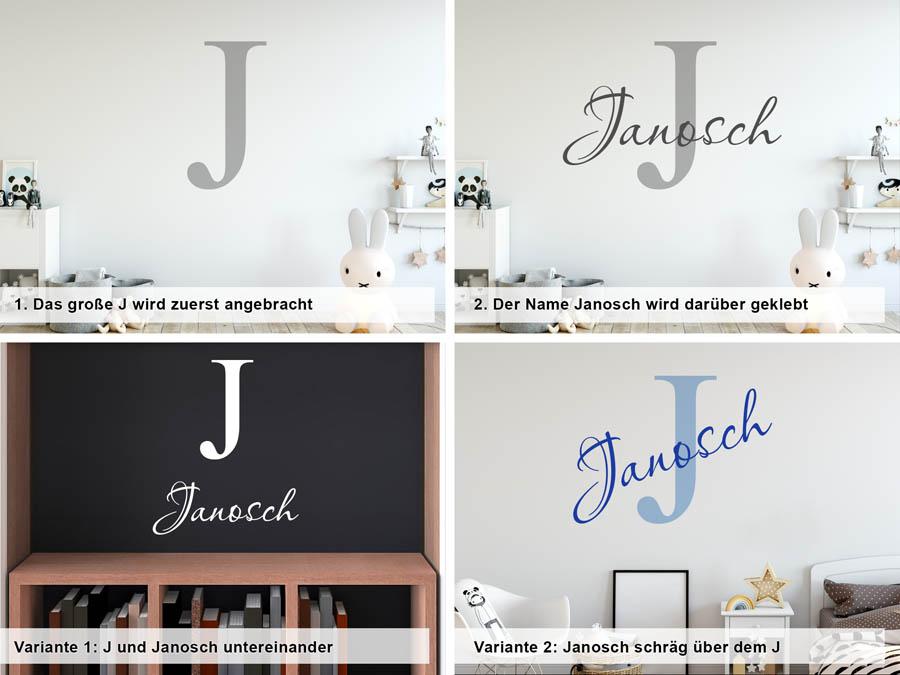 Wandtattoo Janosch Als Namensschild Monogramm Oder
