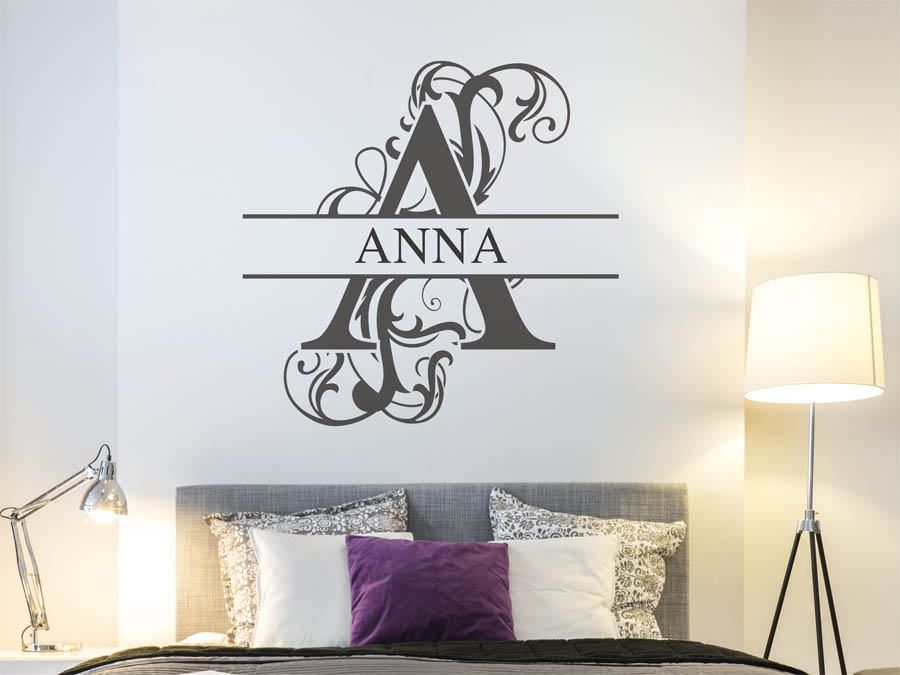 wandtattoo anna als namensschild monogramm oder. Black Bedroom Furniture Sets. Home Design Ideas