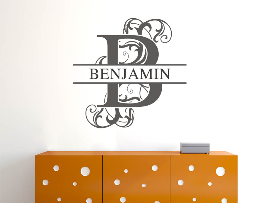 wandtattoo benjamin als namensschild monogramm oder verschn rkelte schrift. Black Bedroom Furniture Sets. Home Design Ideas