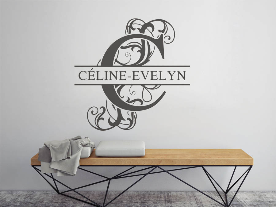 wandtattoo c line evelyn vorname als namensschild. Black Bedroom Furniture Sets. Home Design Ideas
