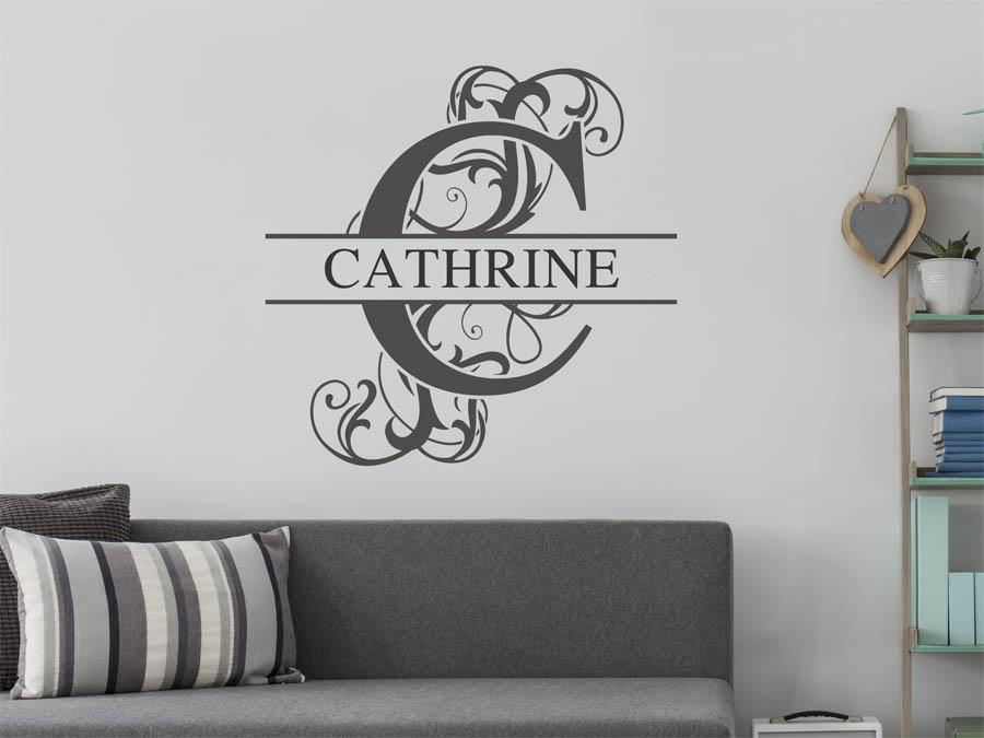 wandtattoo cathrine als namensschild monogramm oder. Black Bedroom Furniture Sets. Home Design Ideas
