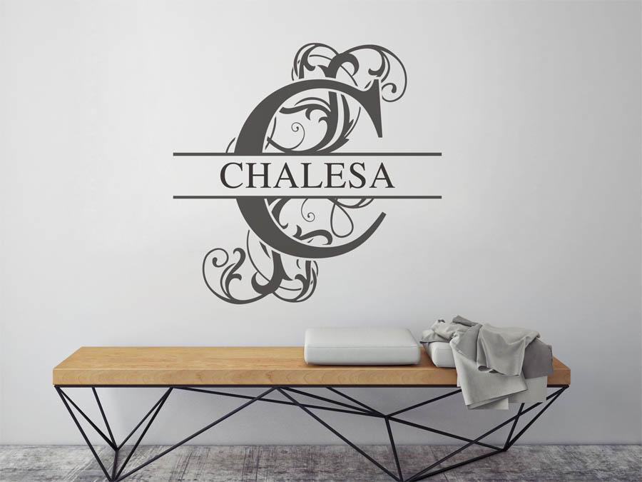 wandtattoo chalesa als namensschild monogramm oder verschn rkelte schrift. Black Bedroom Furniture Sets. Home Design Ideas