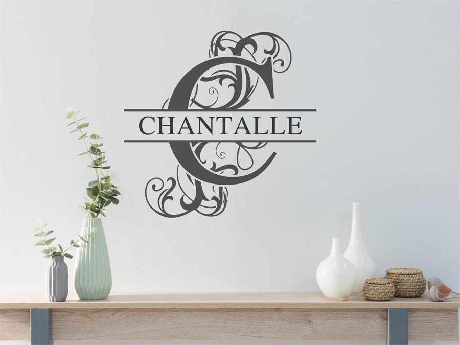 wandtattoo chantalle als namensschild monogramm oder. Black Bedroom Furniture Sets. Home Design Ideas