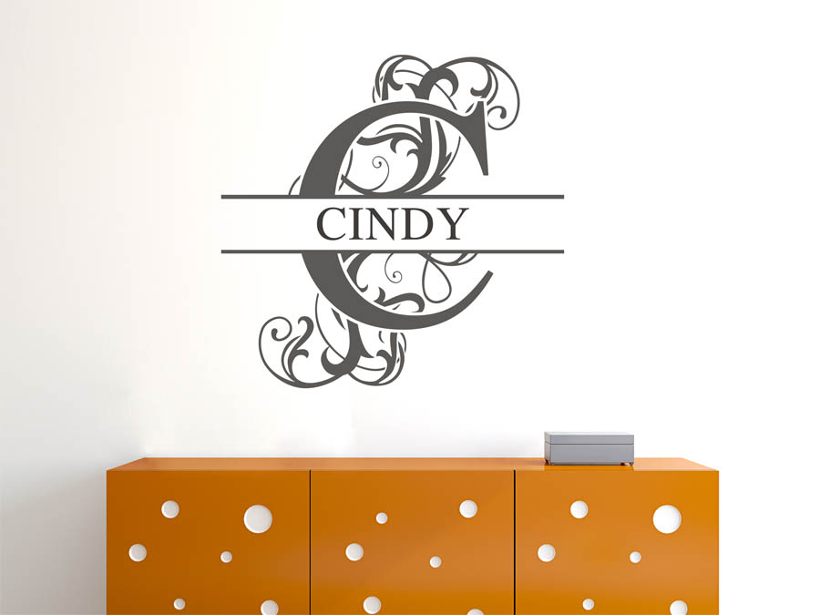 wandtattoo cindy als namensschild monogramm oder. Black Bedroom Furniture Sets. Home Design Ideas
