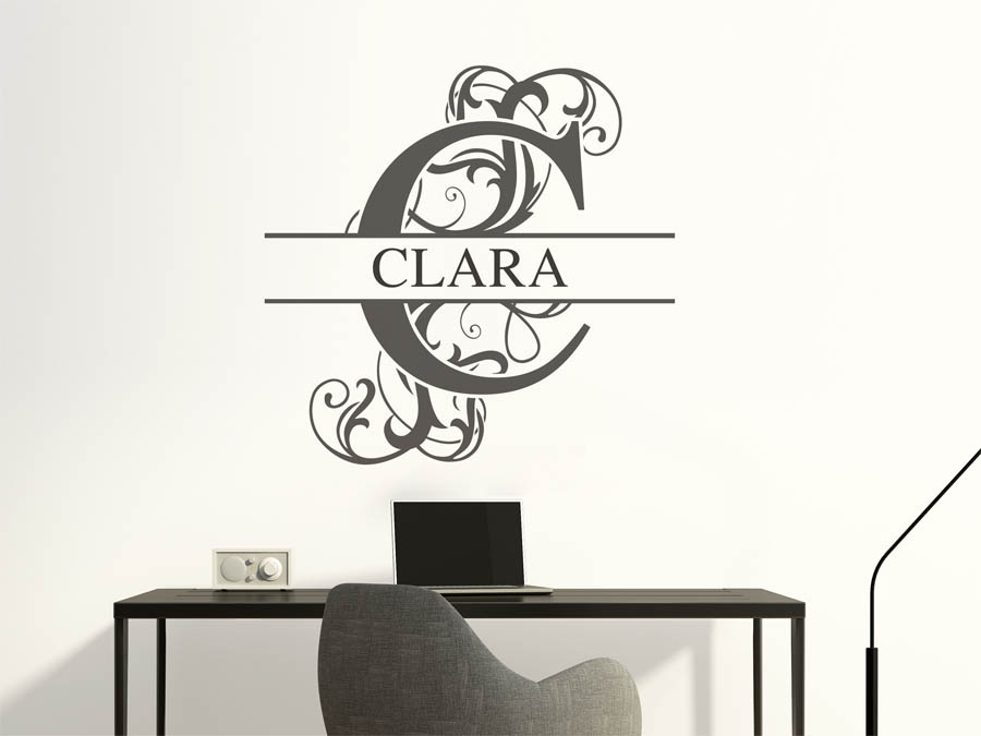wandtattoo clara als namensschild monogramm oder. Black Bedroom Furniture Sets. Home Design Ideas