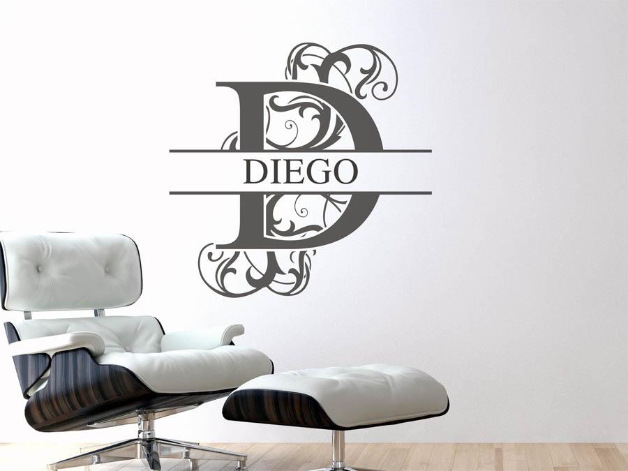 Wandtattoo Diego - Vorname als Namensschild, Monogramm oder ...