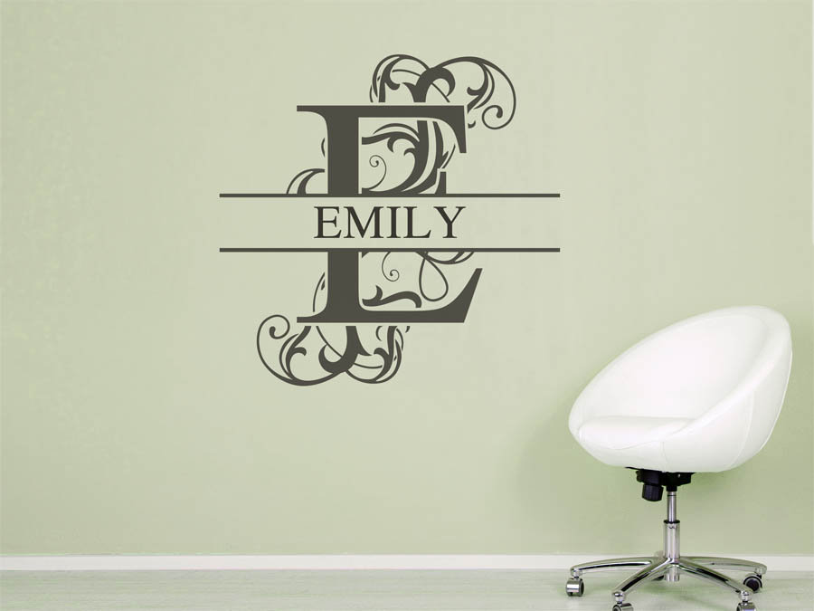 wandtattoo emily als namensschild monogramm oder. Black Bedroom Furniture Sets. Home Design Ideas