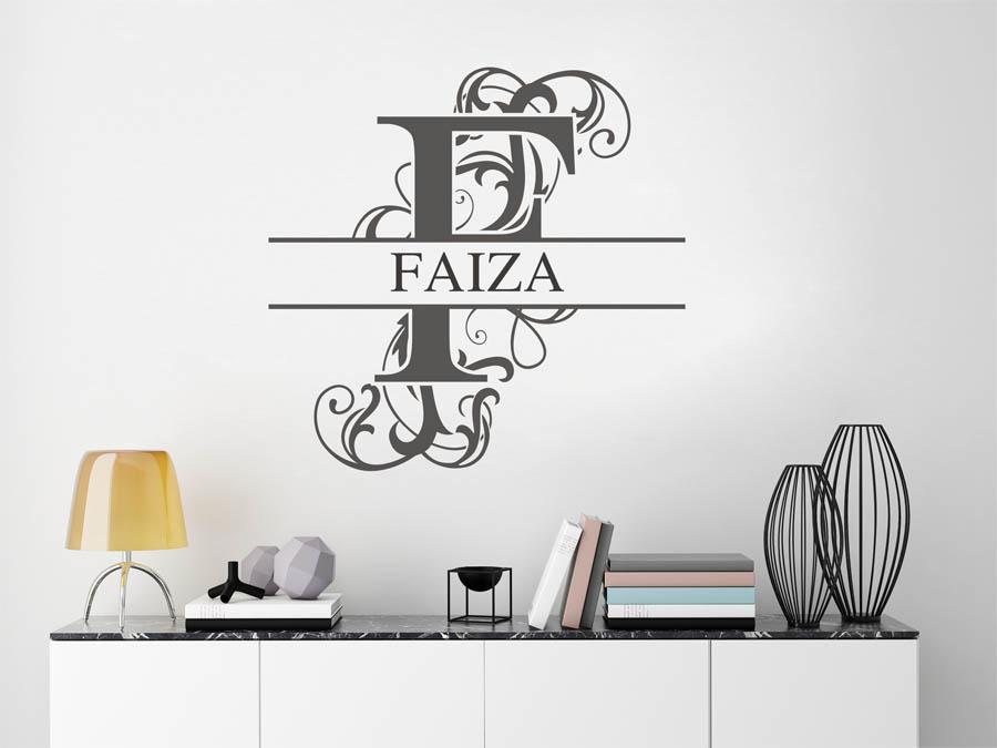 wandtattoo faiza als namensschild monogramm oder. Black Bedroom Furniture Sets. Home Design Ideas