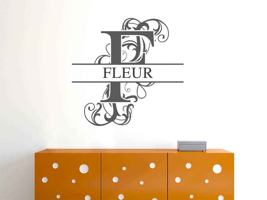 wandtattoo fleur als namensschild monogramm oder. Black Bedroom Furniture Sets. Home Design Ideas