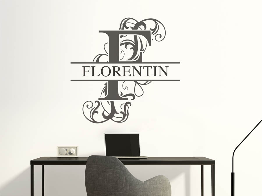 wandtattoo florentin als namensschild monogramm oder. Black Bedroom Furniture Sets. Home Design Ideas