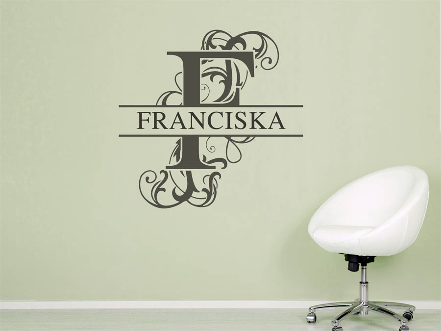 wandtattoo franciska vorname als namensschild monogramm. Black Bedroom Furniture Sets. Home Design Ideas
