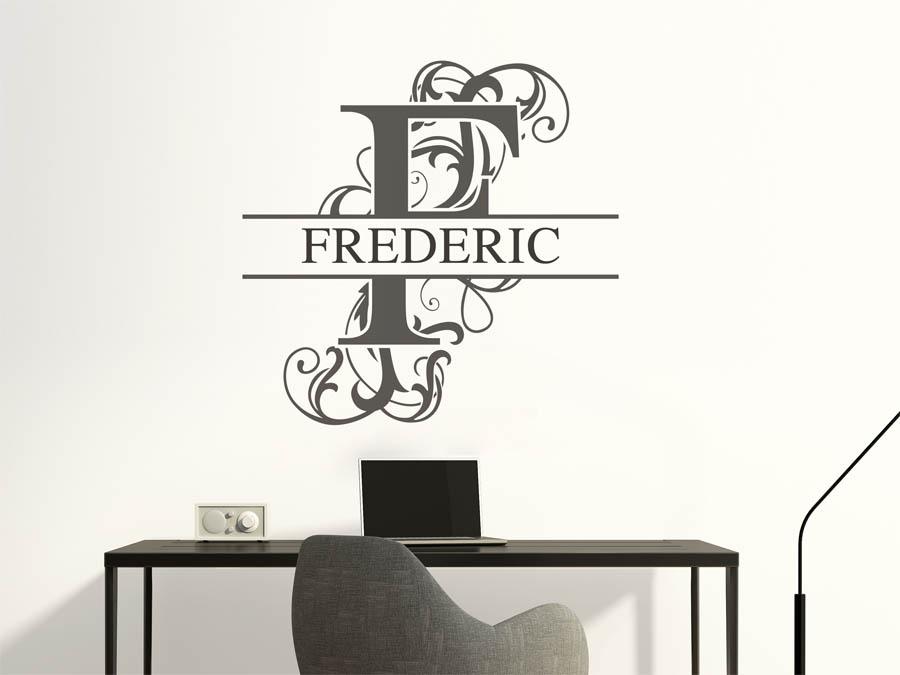 wandtattoo frederic als namensschild monogramm oder verschn rkelte schrift. Black Bedroom Furniture Sets. Home Design Ideas