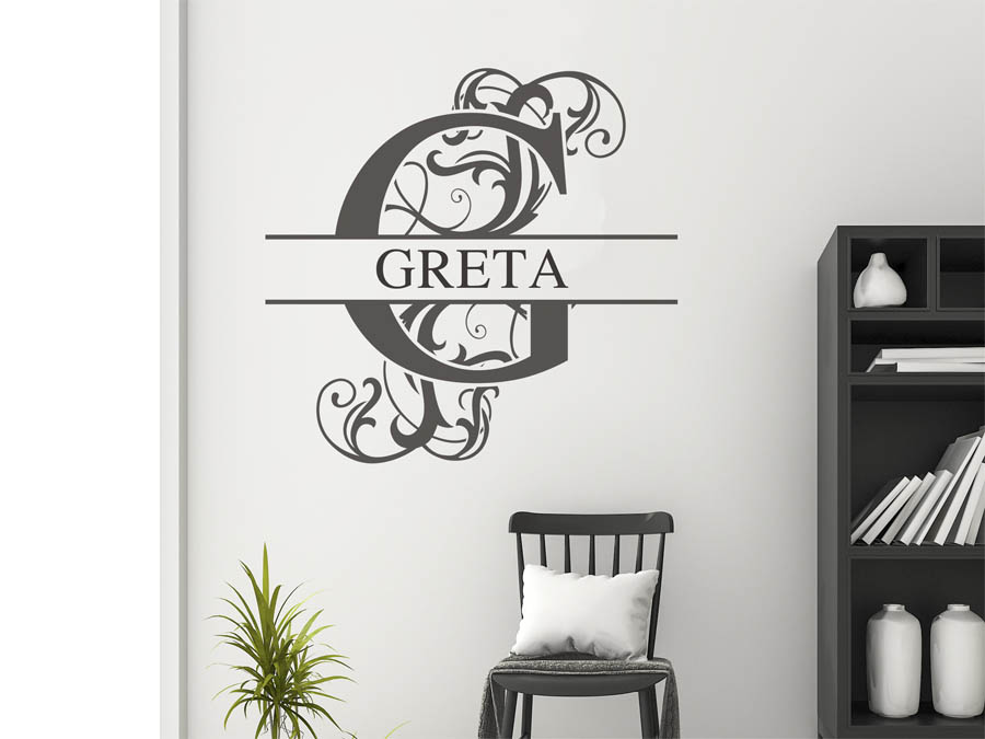 wandtattoo greta als namensschild monogramm oder verschn rkelte schrift. Black Bedroom Furniture Sets. Home Design Ideas