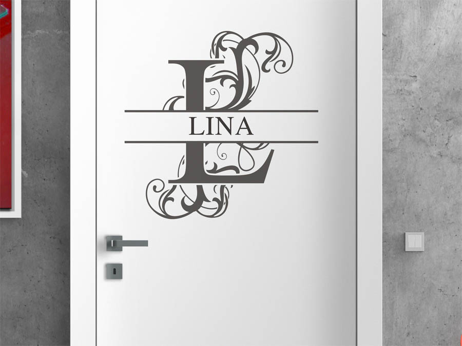 wandtattoo lina vorname als namensschild monogramm oder. Black Bedroom Furniture Sets. Home Design Ideas