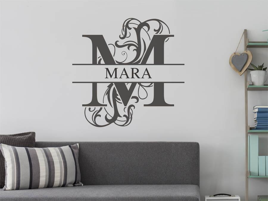wandtattoo mara vorname als namensschild monogramm oder. Black Bedroom Furniture Sets. Home Design Ideas