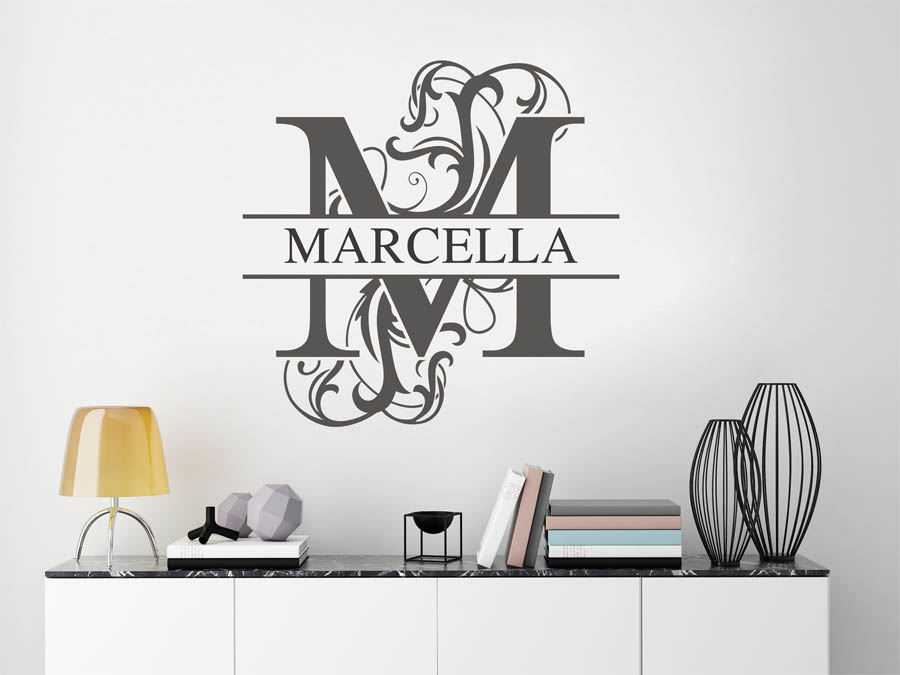 wandtattoo marcella als namensschild monogramm oder. Black Bedroom Furniture Sets. Home Design Ideas