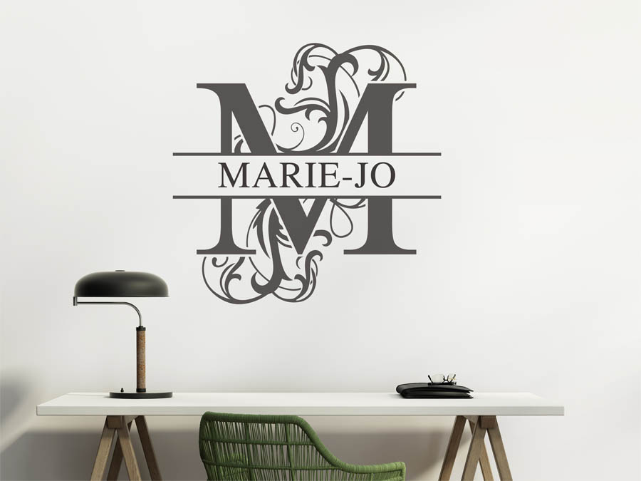 wandtattoo marie jo als namensschild monogramm oder. Black Bedroom Furniture Sets. Home Design Ideas