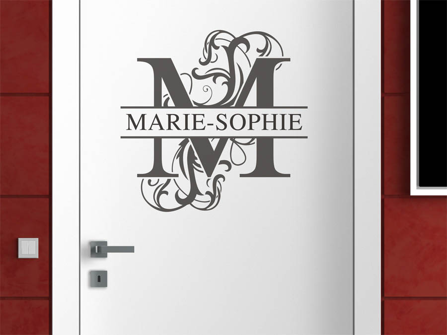 wandtattoo marie sophie als namensschild monogramm oder verschn rkelte schrift. Black Bedroom Furniture Sets. Home Design Ideas