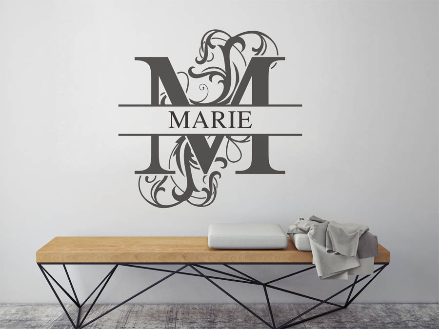 wandtattoo marie als namensschild monogramm oder verschn rkelte schrift. Black Bedroom Furniture Sets. Home Design Ideas