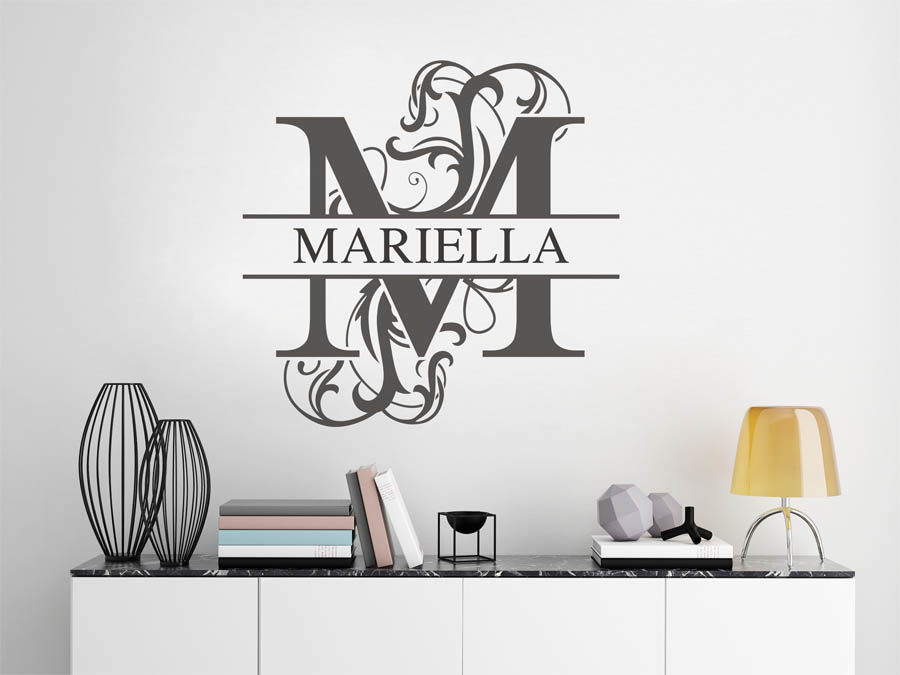 wandtattoo mariella als namensschild monogramm oder. Black Bedroom Furniture Sets. Home Design Ideas