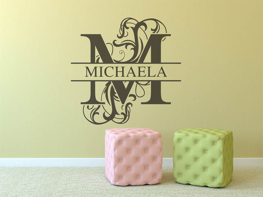 wandtattoo michaela als namensschild monogramm oder. Black Bedroom Furniture Sets. Home Design Ideas