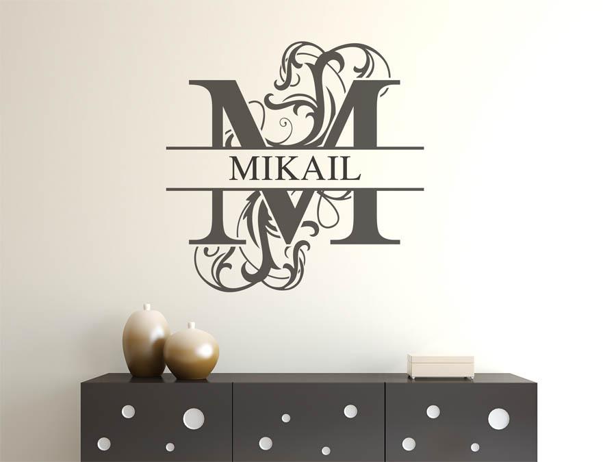 wandtattoo mikail als namensschild monogramm oder verschn rkelte schrift. Black Bedroom Furniture Sets. Home Design Ideas