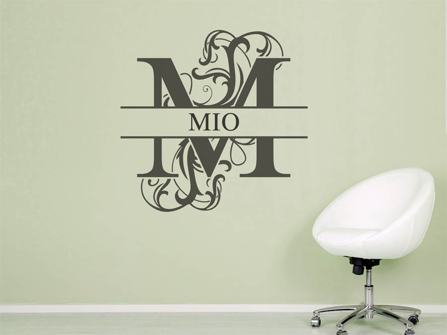 wandtattoo mio als namensschild monogramm oder. Black Bedroom Furniture Sets. Home Design Ideas