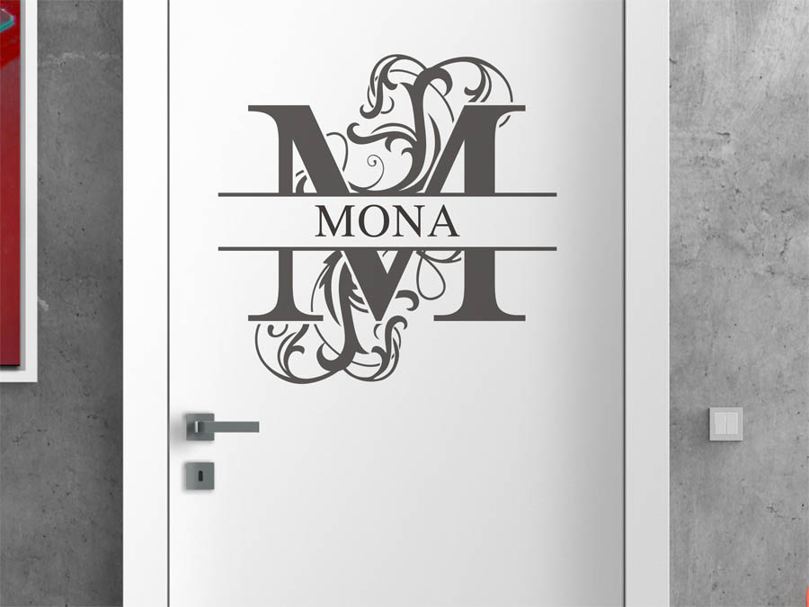 wandtattoo mona als namensschild monogramm oder. Black Bedroom Furniture Sets. Home Design Ideas